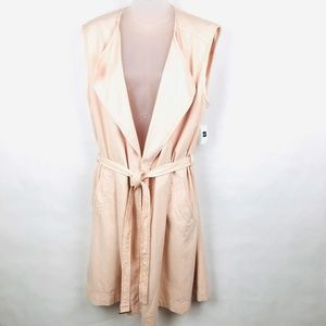 GAP Long Trench Vest Duster Size Large Pink